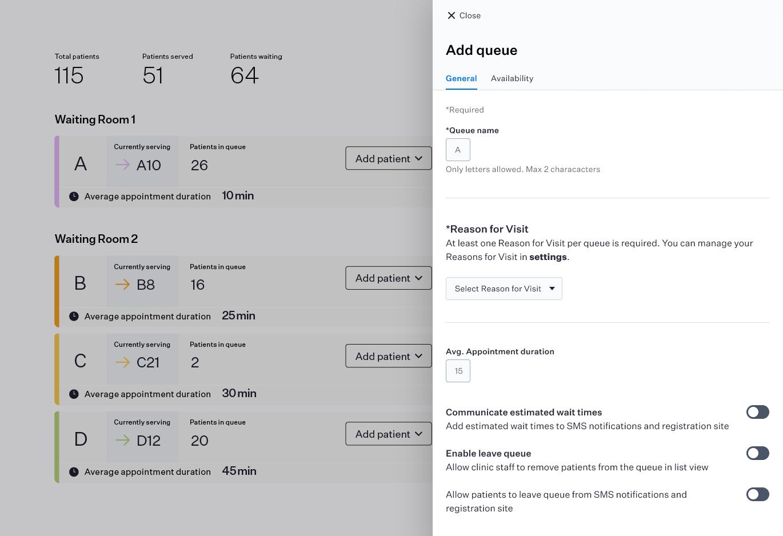 Tableau de bord du logiciel de gestion des files d'attente virtuelles