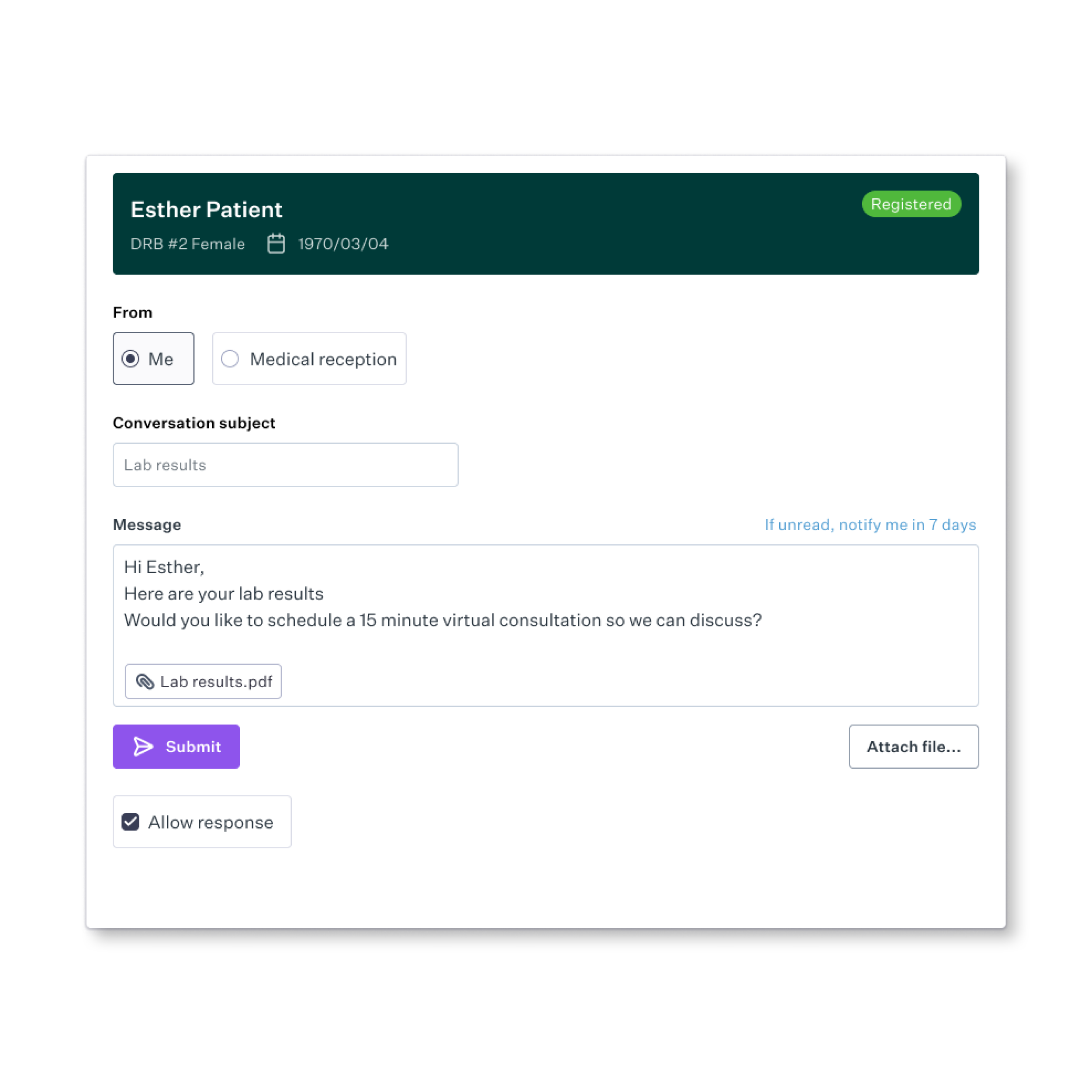 Share sensitive documents like test results, treatment plans, etc. and allow patients to send you attachments like eForms all from one secure, convenient location.