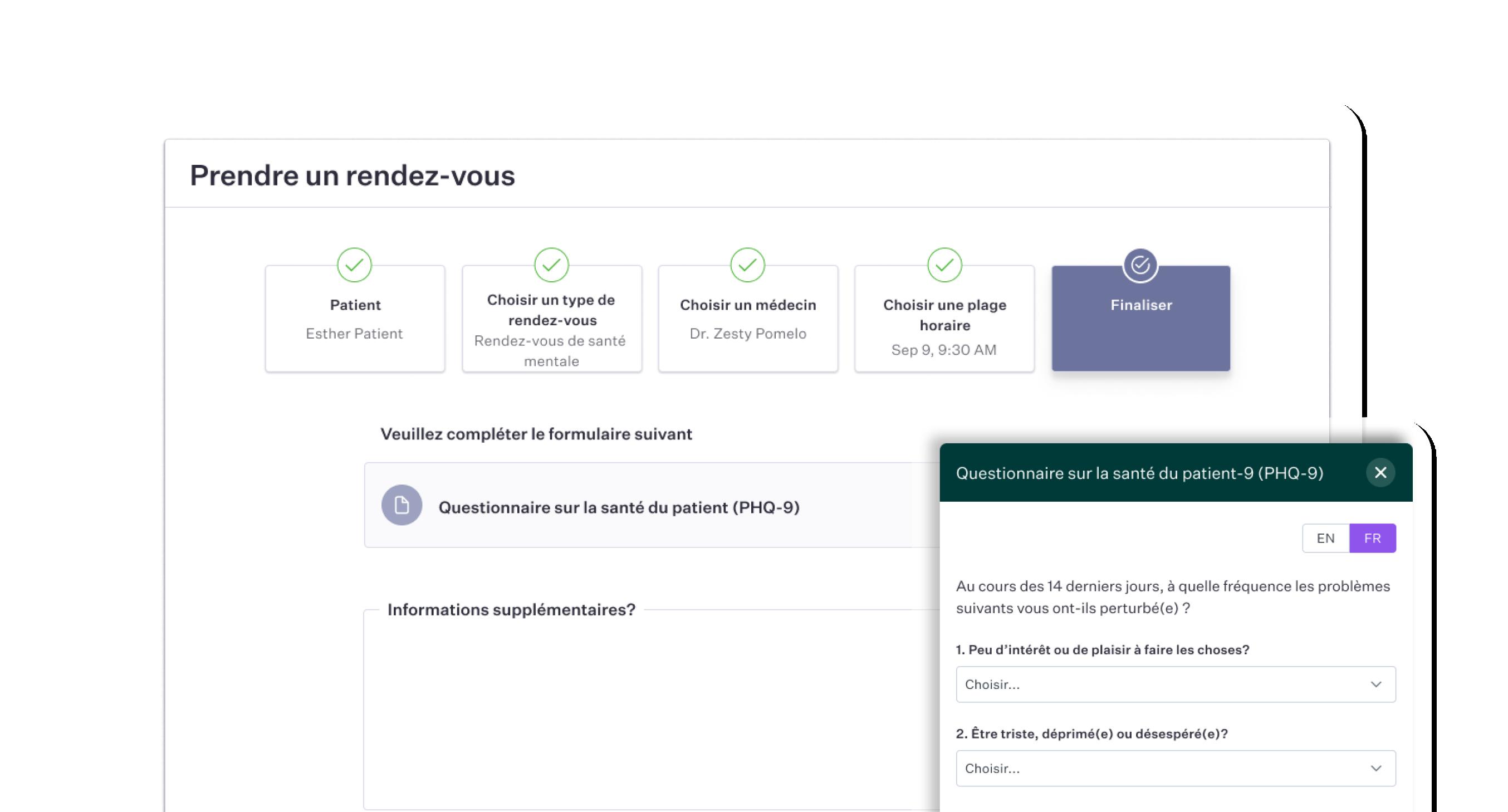 Intégrez des formulaires éléctroniques au processus de prise de rendez-vous en ligne pour garder les informations de vos patients à jour