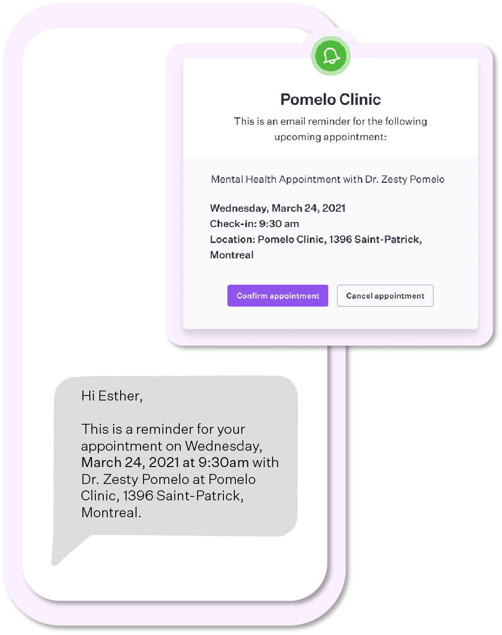 Example of an email reminder and a SMS reminder by Pomelo Health Canada