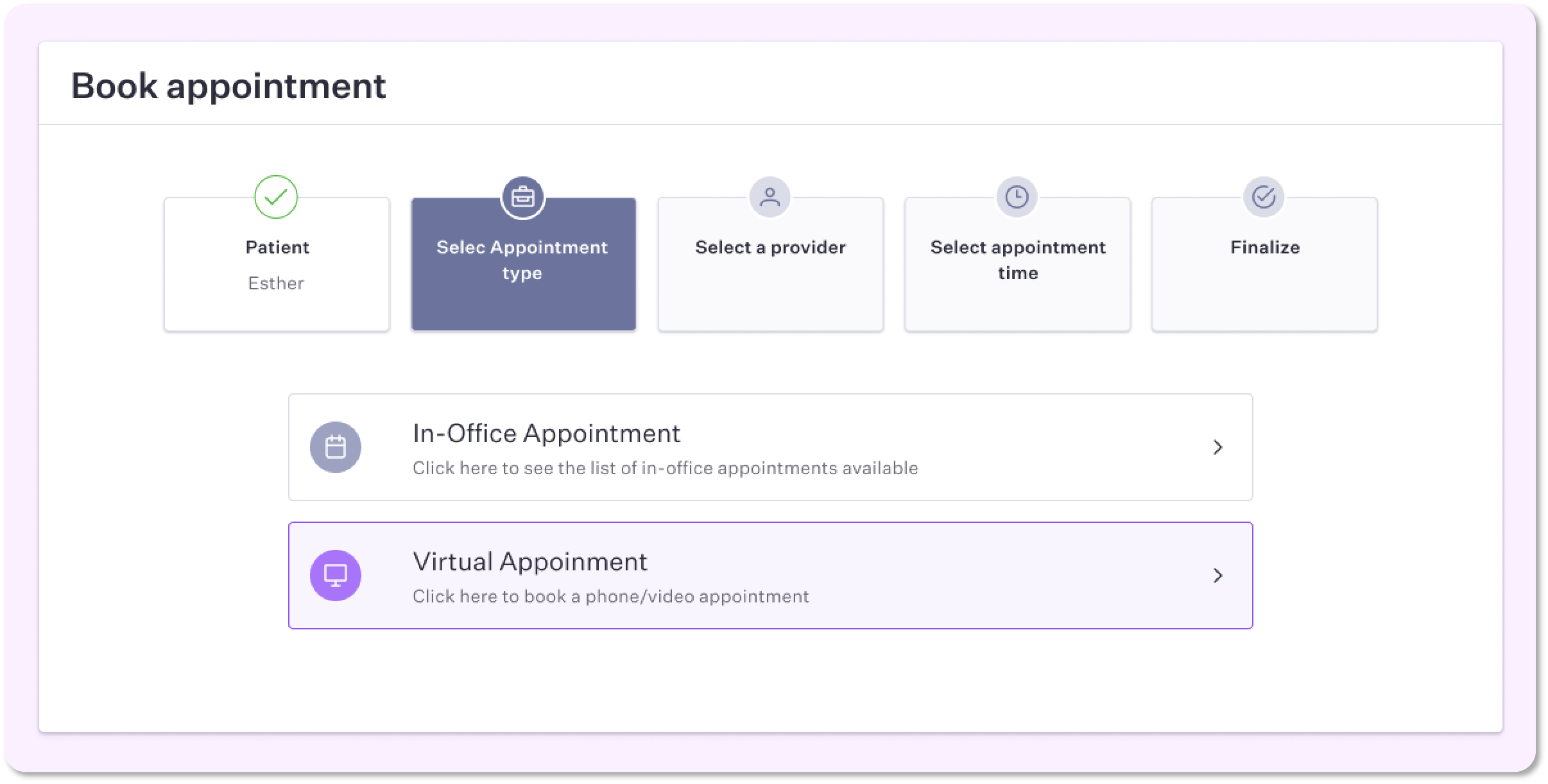 Allow your patients to book virtual appointments through the patient portal