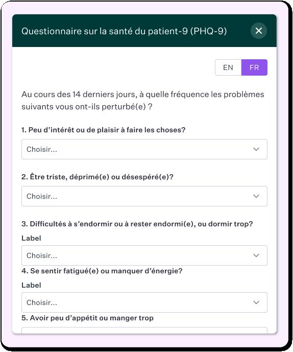 Modèle de formulaire patient éléctronique - Questionnaire sur la santé du patient PHQ-9