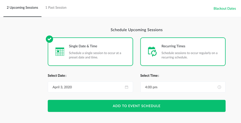 Screen-shot of webinar scheduling options