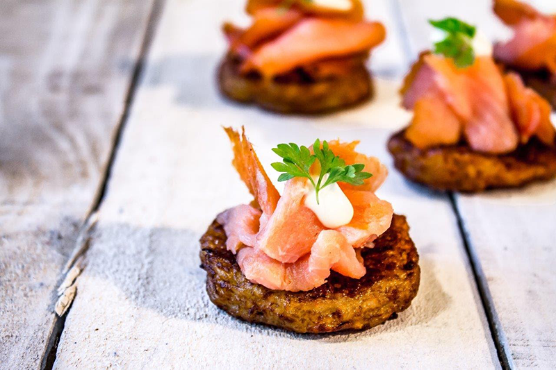 Salmon on a hash brown canape