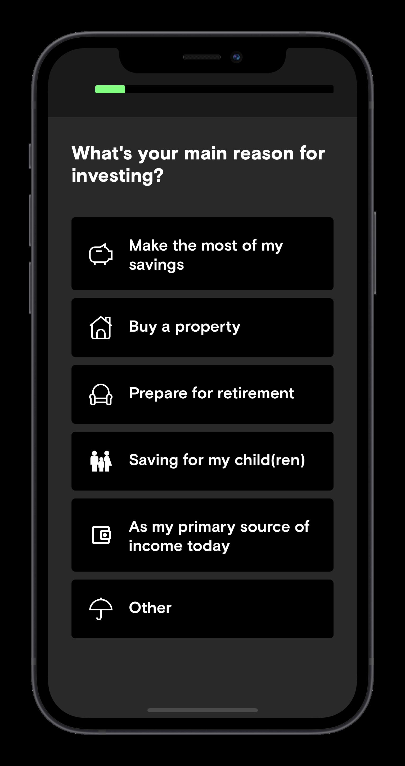Risk profile question screen of the Curvo app