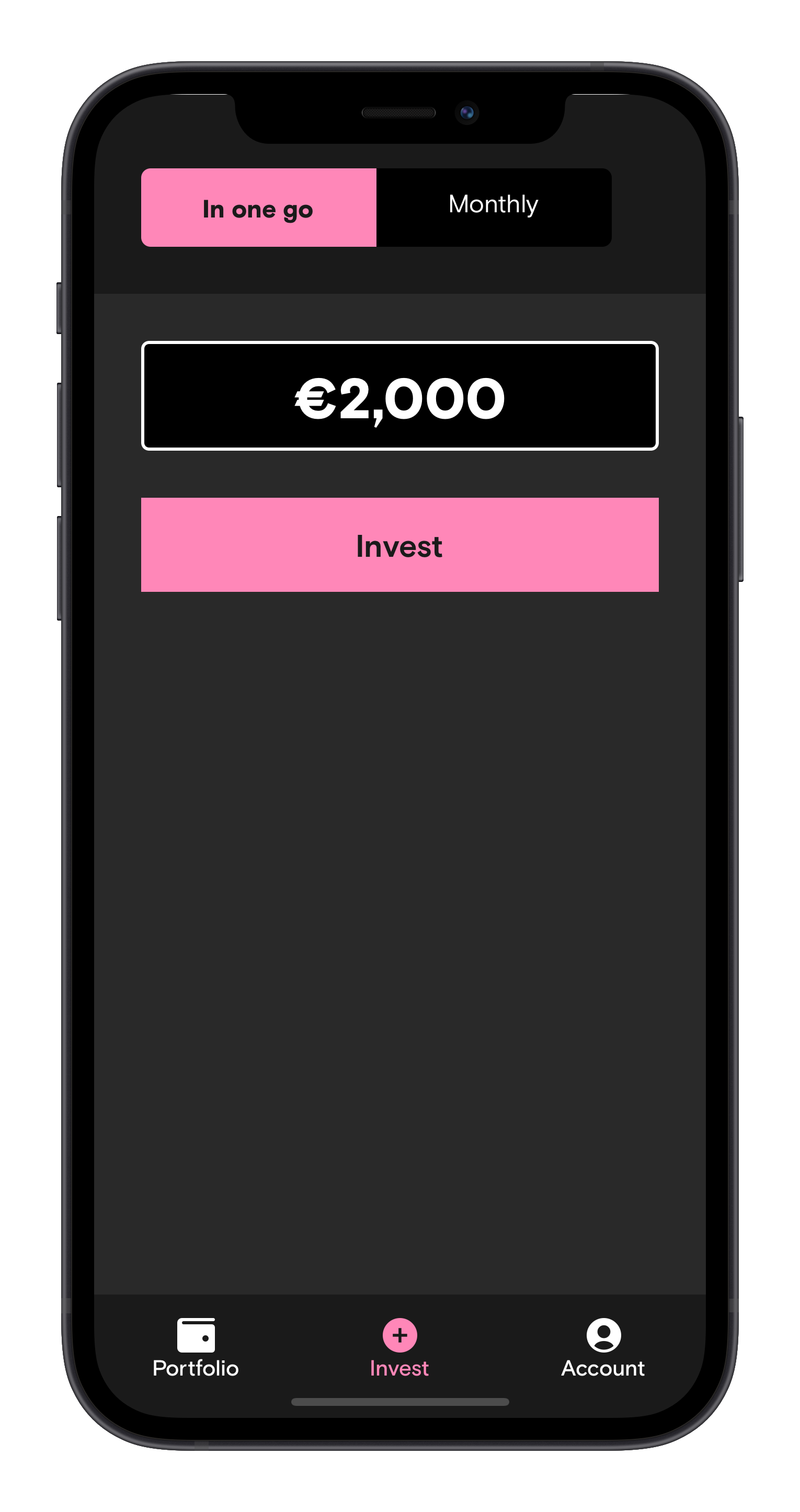Screen of the Curvo app to invest a one-off amount