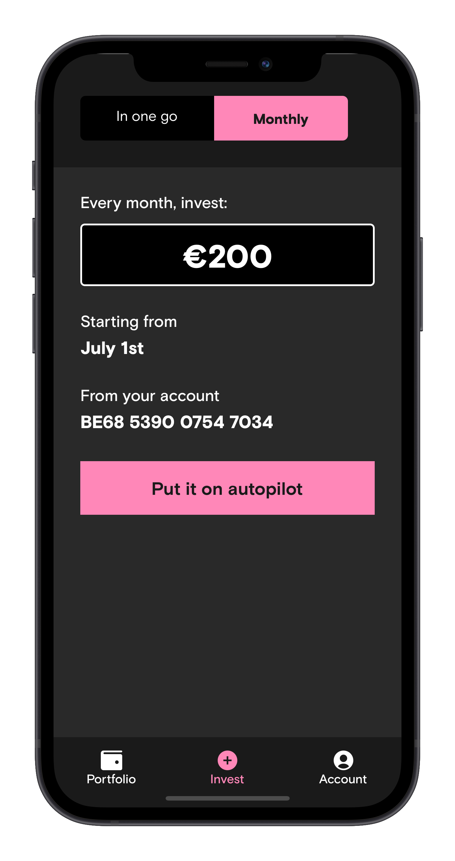 Screen of the Curvo app to invest monthly