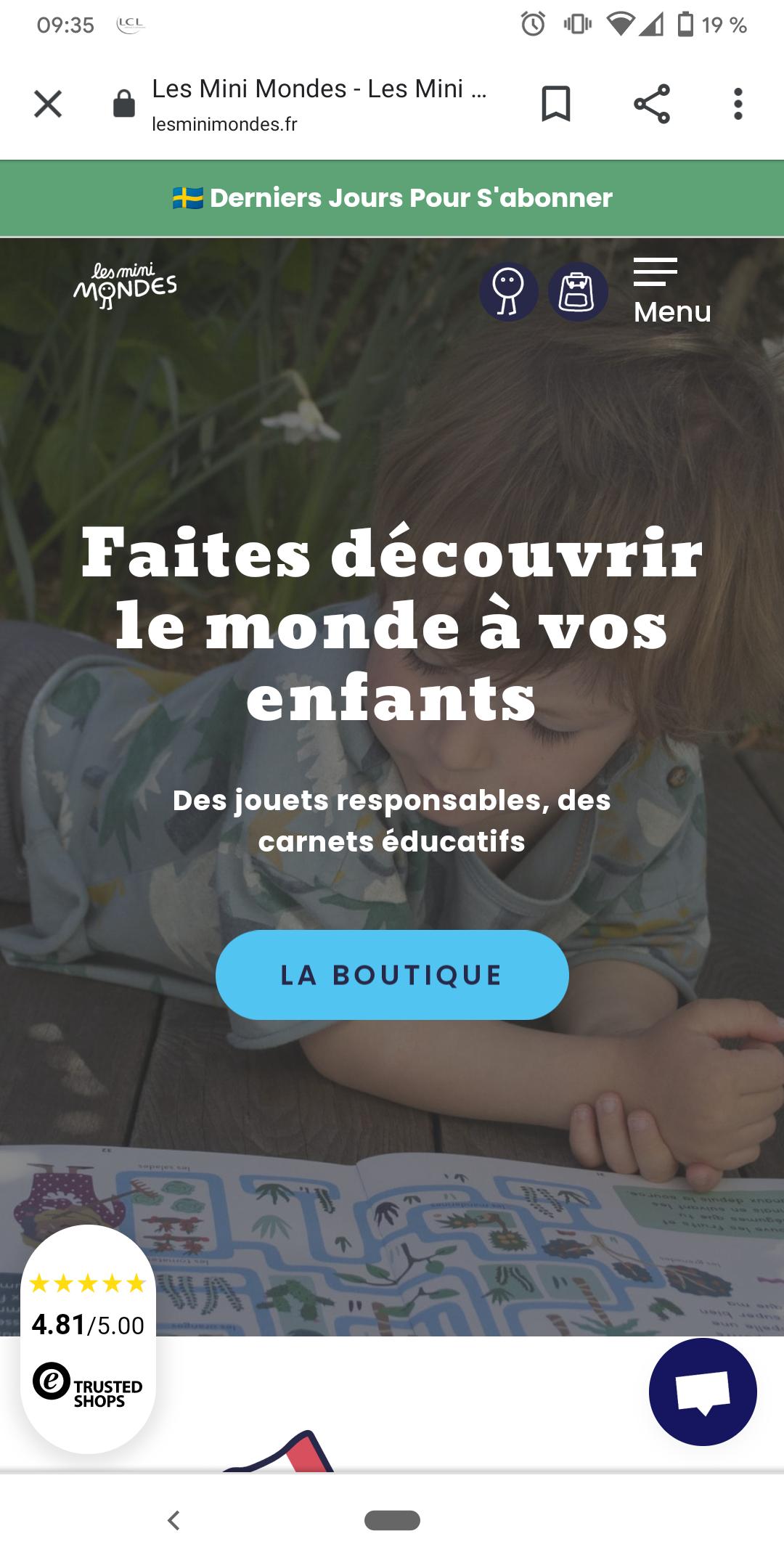 Site internet des Mini Mondes et pastille Trusted Shops