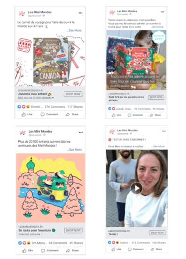 les mini mondes facebook ads