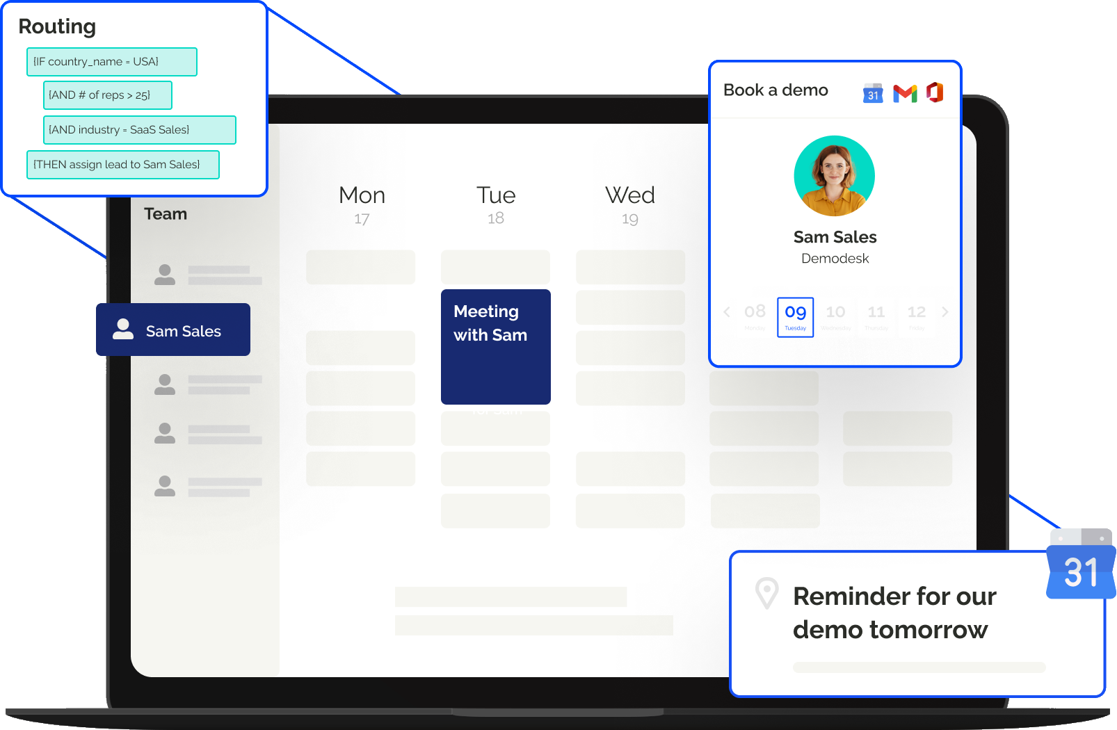 Automate scheduling with custom booking pages, team scheduling, lead routing, emails & calendar invites, & call reminders.