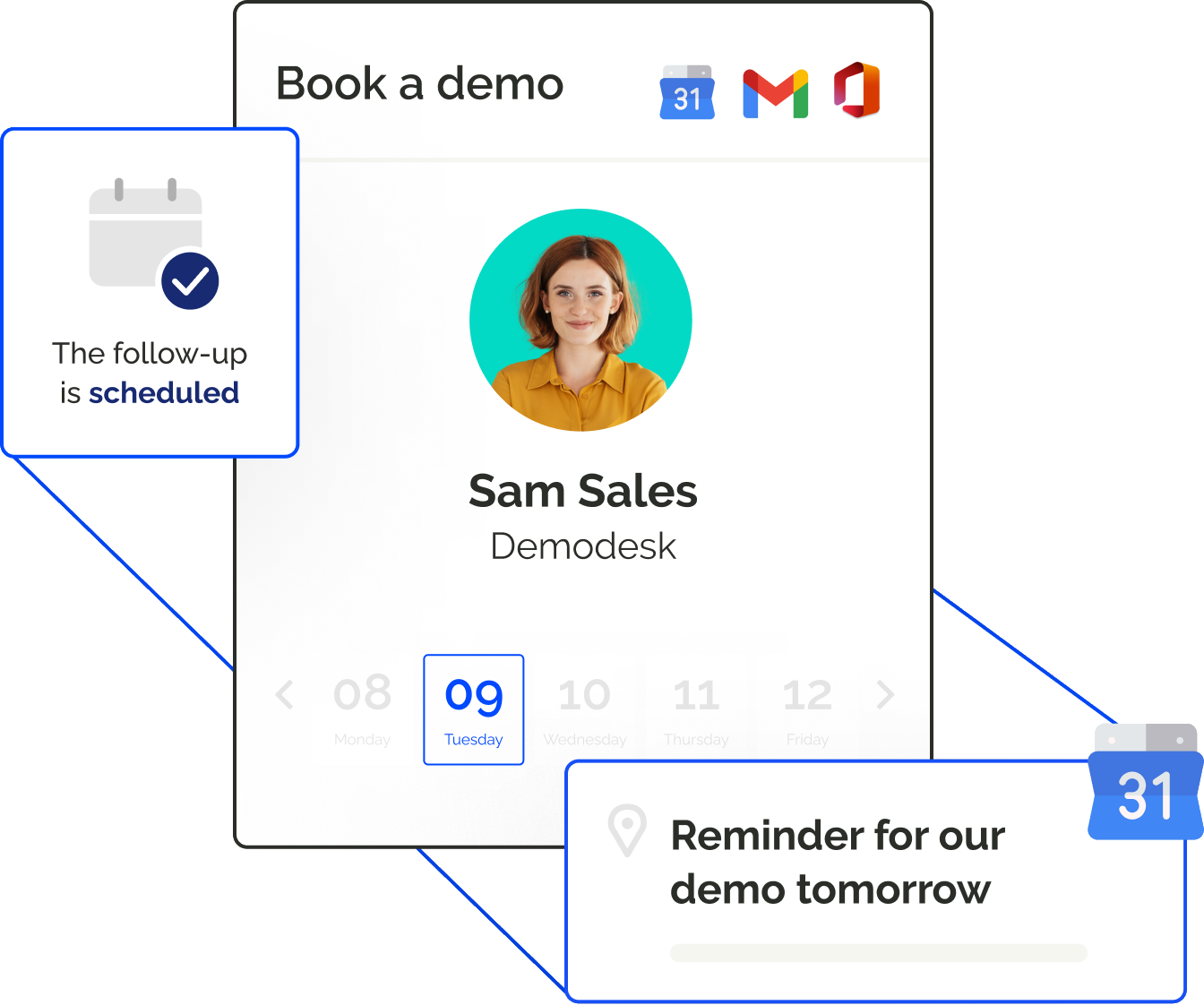 Let customers book meetings in your calendar, based on your availability, and automate all meeting invites & reminders.