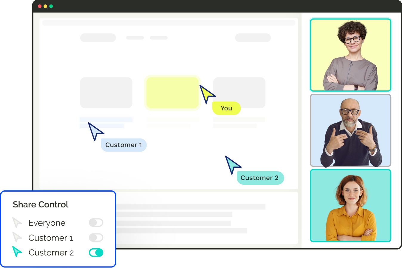 Engage customers in any meeting by sharing real-time control. Interact with the same apps, product, websites, content, & more.