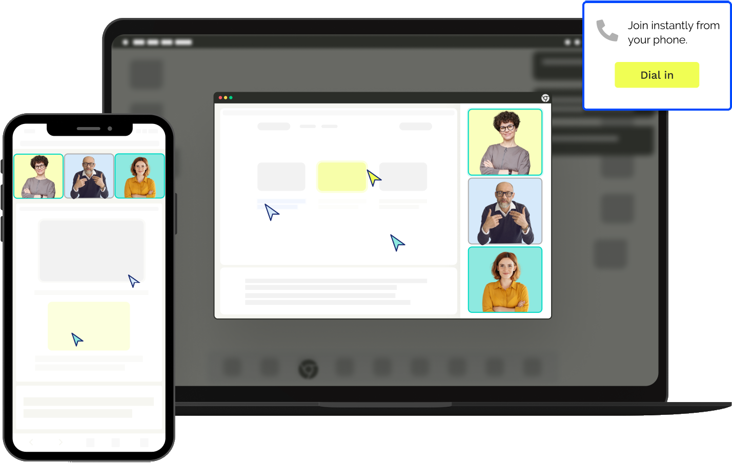 Make it easy for anyone to join a meeting instantly, from anywhere. High quality & secure meetings via phone or computer.