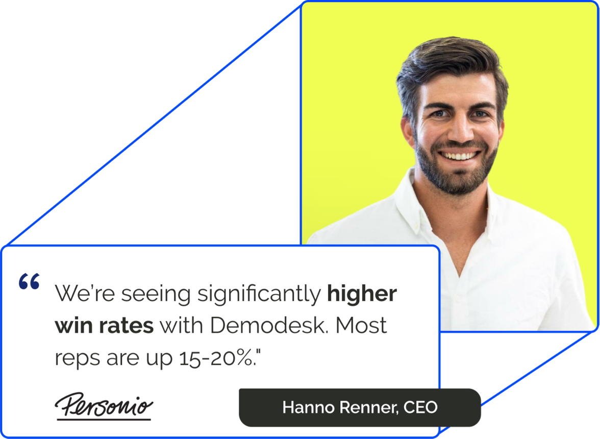 Demodesk is an intelligent customer meeting platform that helps you increase your sales velocity and drive more revenue.