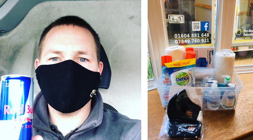 Nick wearing his COVID mask and a box of cleaning agents