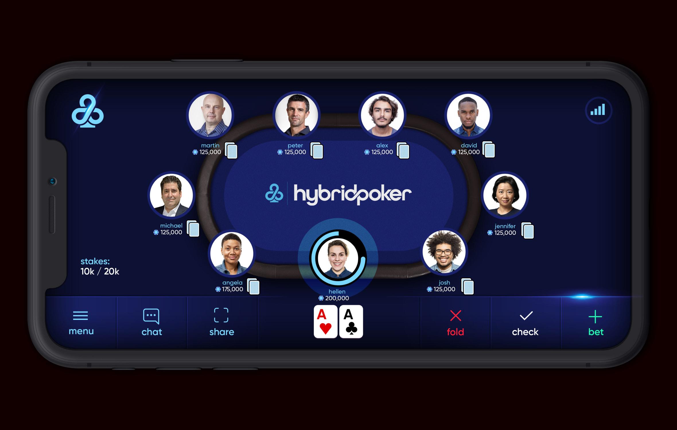 hybrid poker app screen mockup