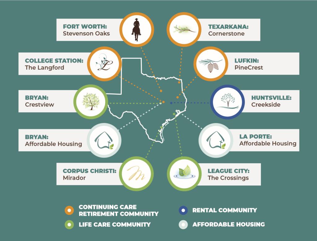 MRC Caff Retirement Community Map, Texas