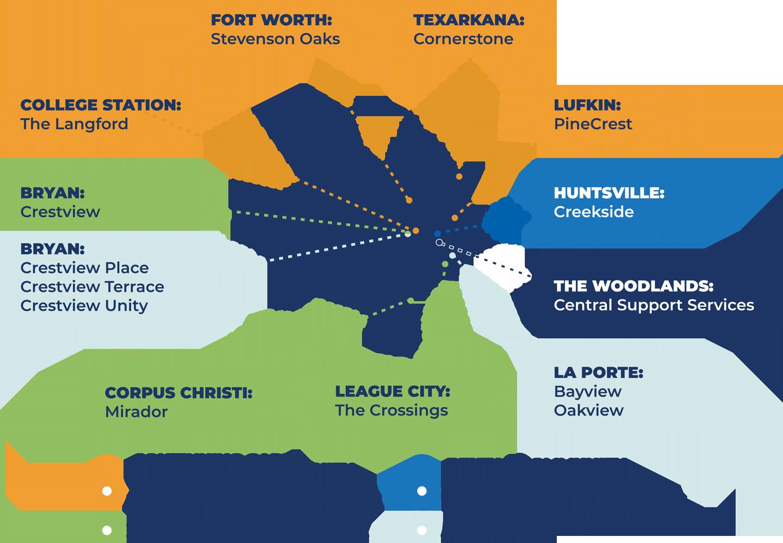 MRC Senior Living Community new Map, Texas