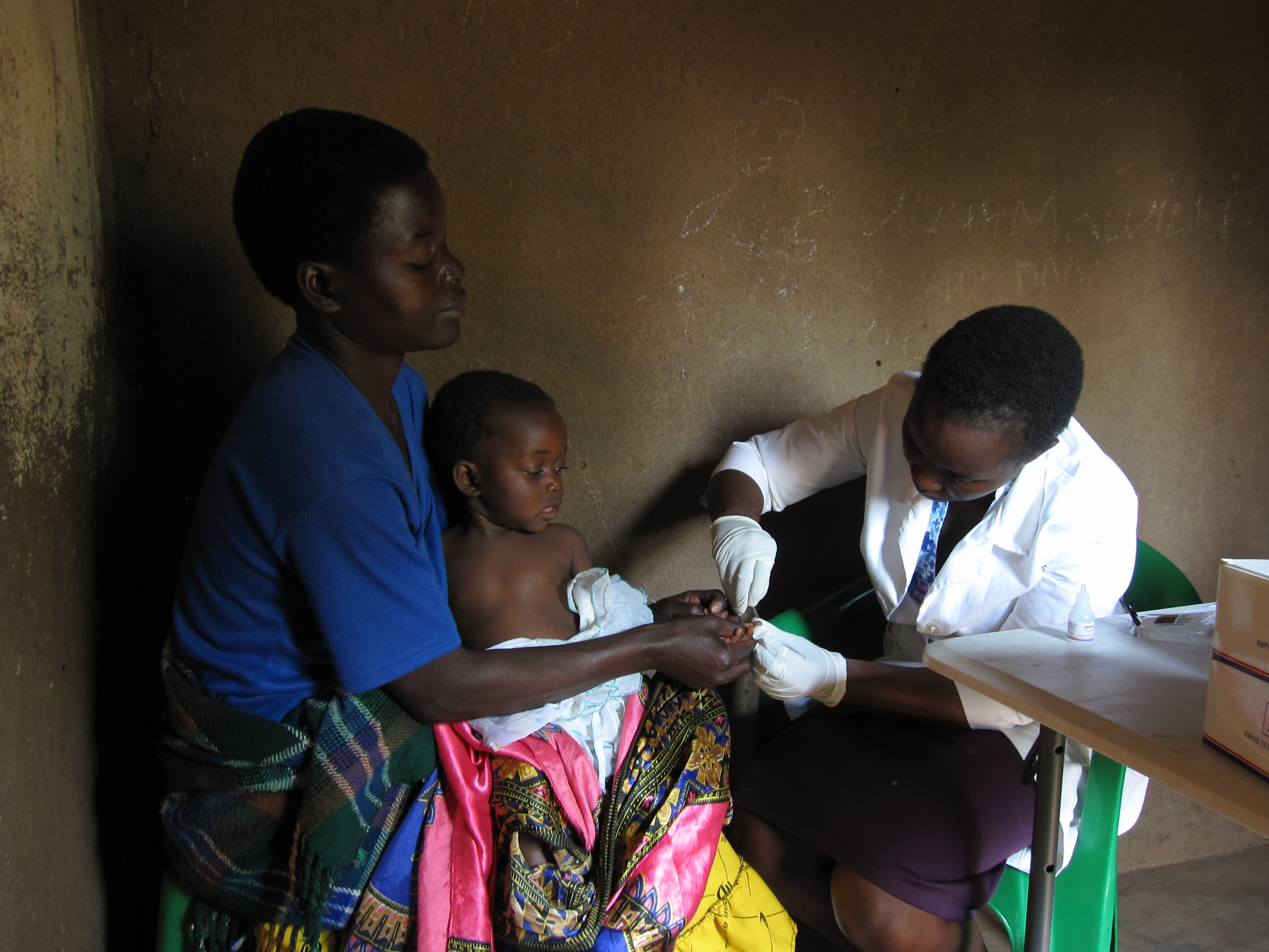 Malawian receiving tests at an Elizabeth Taylor Mobile Clinic