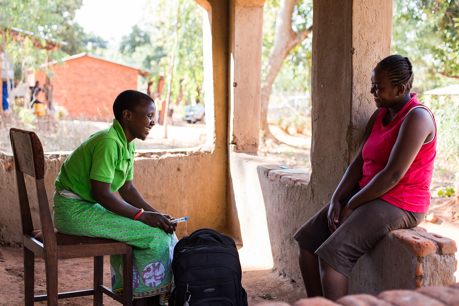 community health worker counseling a client in mulanje, malawi