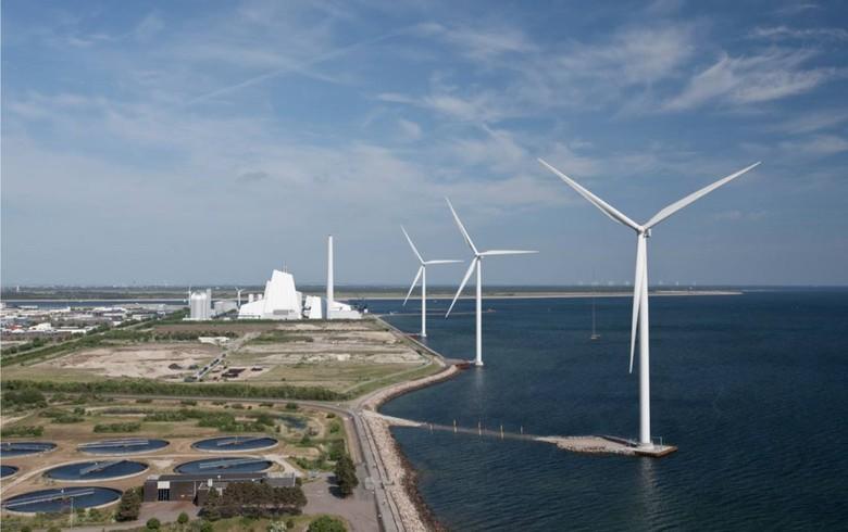 Windmills at Avedore power station in Denmark