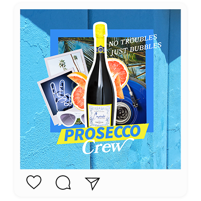 """Collage of Cupcake Vineyards bottle with """"Prosecco Crew"""" written across it."""