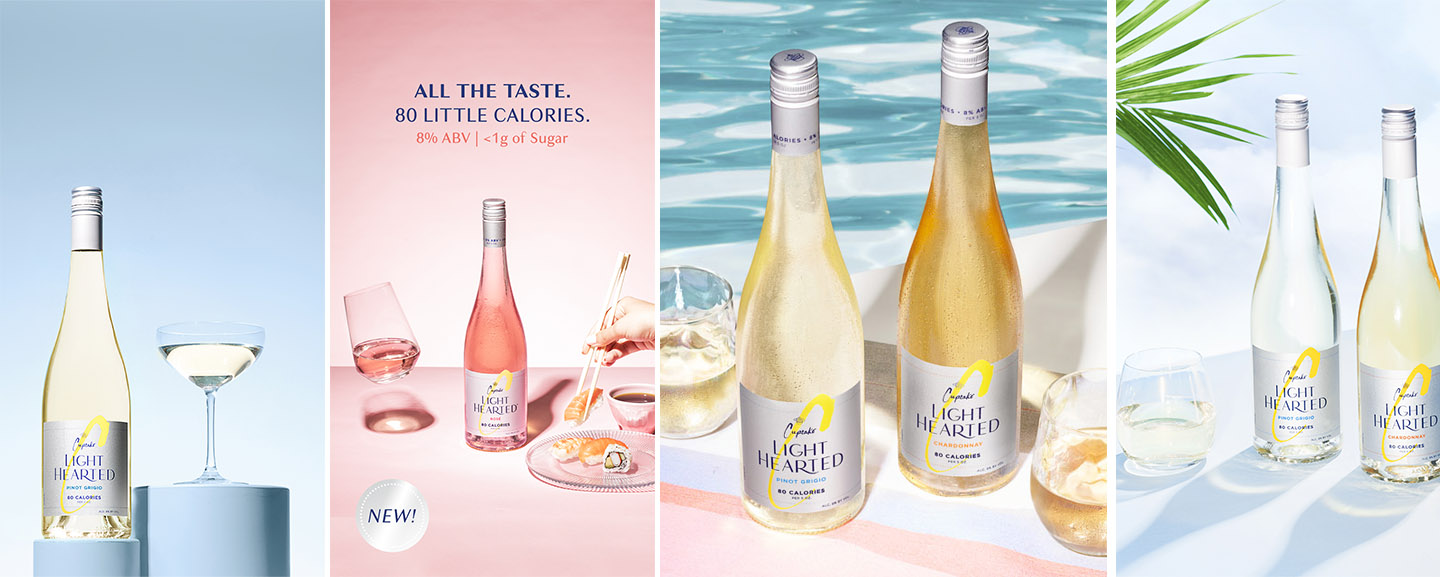 4 Cupcake Lighthearted images featuring different low calorie wines in summer-like settings