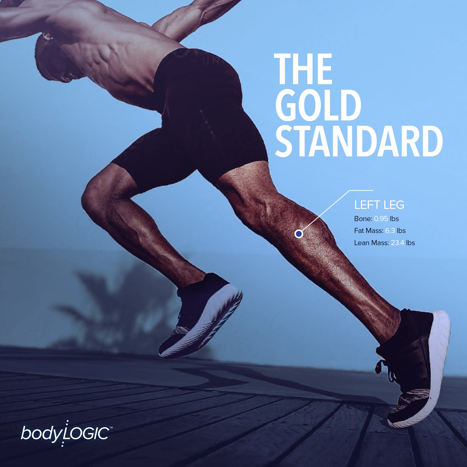 "Fit man starting sprint with ""The Gold Standard"" on text with left leg metrics"