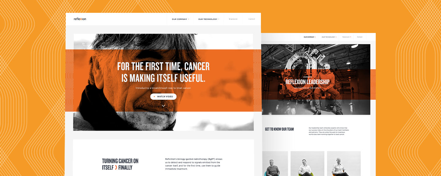 2 RefleXion website images featuring people and cancer treating technology