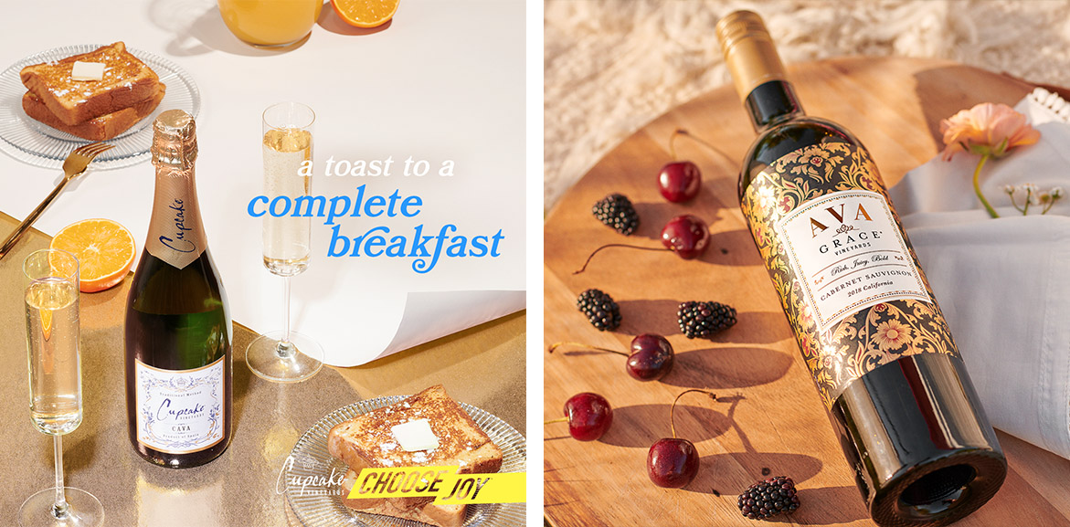 """On the left, Cupcake Cava with french toast with text """"a toast to a complete breakfast"""" . On the right, Ava Grace image: Ava Grace Cabernet sauvignon on wood tray surrounded by cherries and blackberries"""