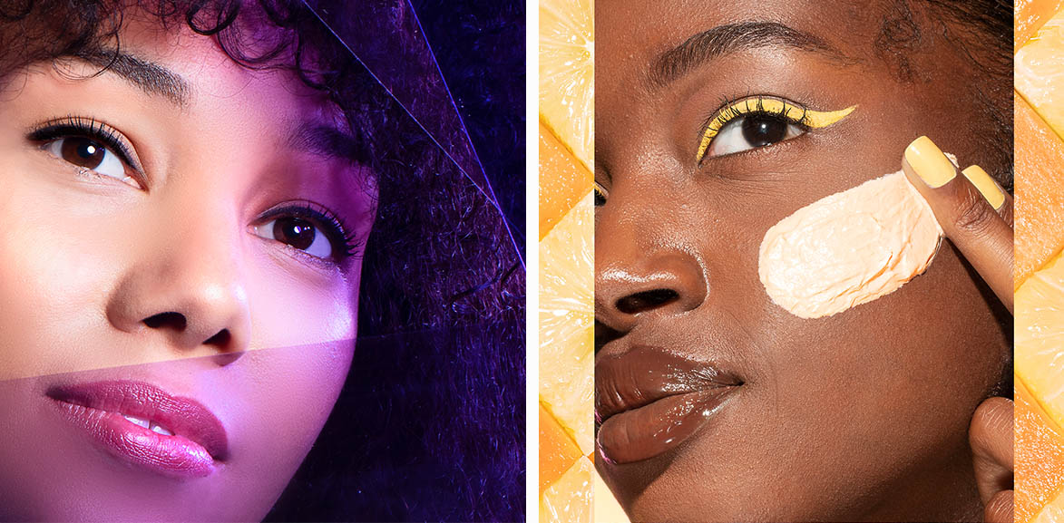 On the right, an up close portrait of model with purple effects overlaid. On the left, an up close portrait of model with small swipe of product on cheek