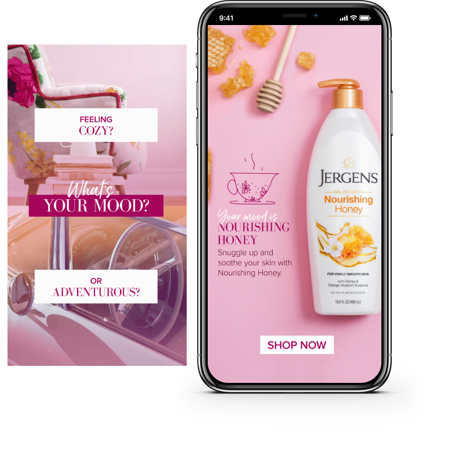 "On the right, top reads ""Feeling cozy?"" with a chair and bottom ""or adventurous?"" with car. On the left, a phone mockup with Jergens Nourishing Honey lotion"