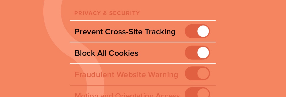 "On/Off Switches with ""Prevent Cross-Site Tracking"" and ""Block All Cookies"" turned on"