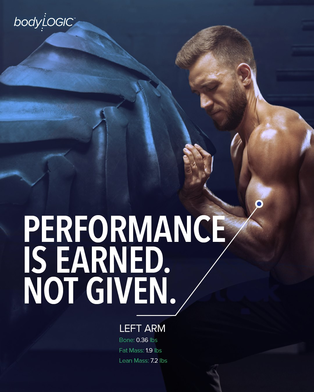 "Toned man pushing tire with ""Performance is earned, not given"" on image with left arm metrics"