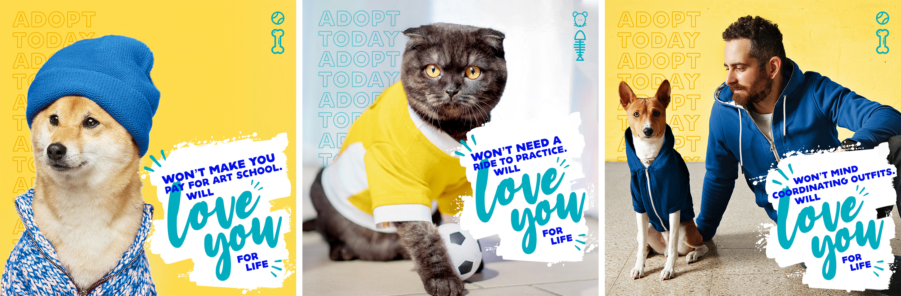 3 pets in clothing with quippy text to encourage animal adoption overtop