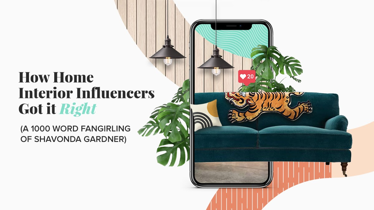 """""""How Home Interior Influencers Got it Right"""" With a green couch and tiger blanket draped over the back"""