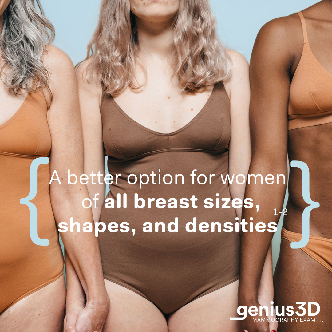 """Women hand-in-hand in underwear with """"a better option for women of all breast sizes, shapes, and densities"""""""