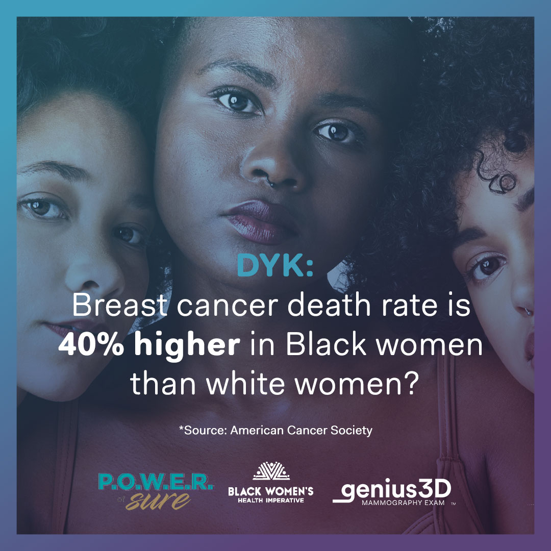 """3 Black women with """"DYK: Breast cancer death rate is 40% higher in Black women than white women?"""""""