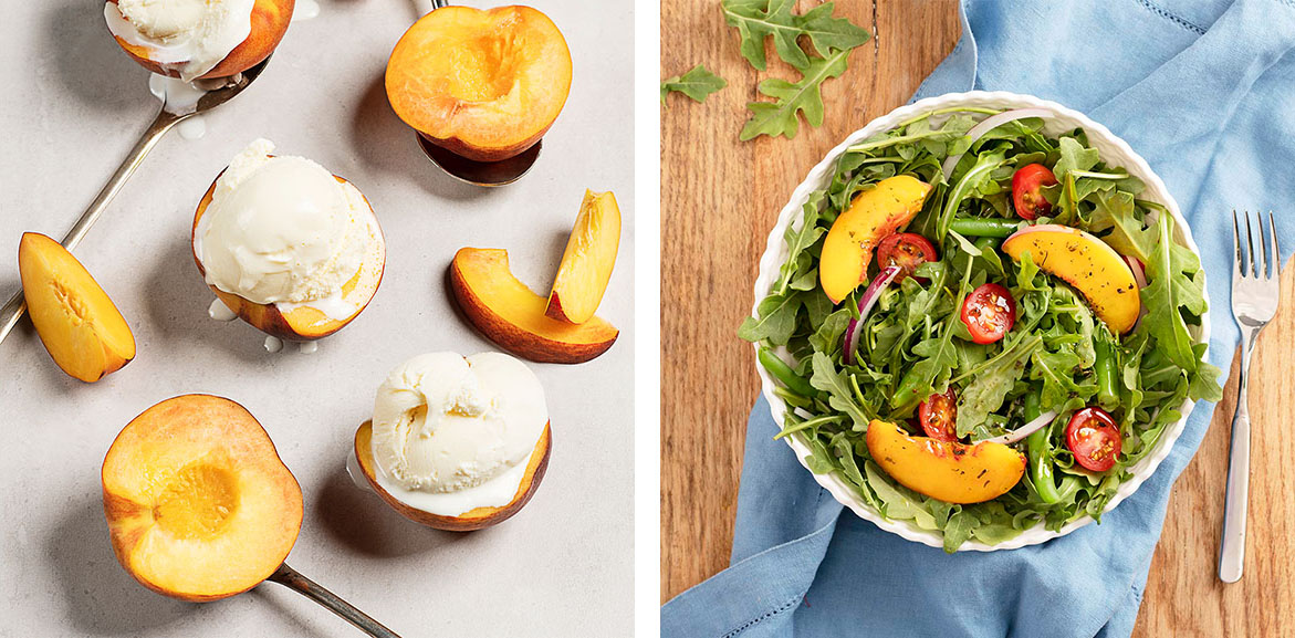 Two images: Peaches with scoops of vanilla ice cream, on the right. On the left, peach and arugula salad in a white bowl with a light blue napkin.
