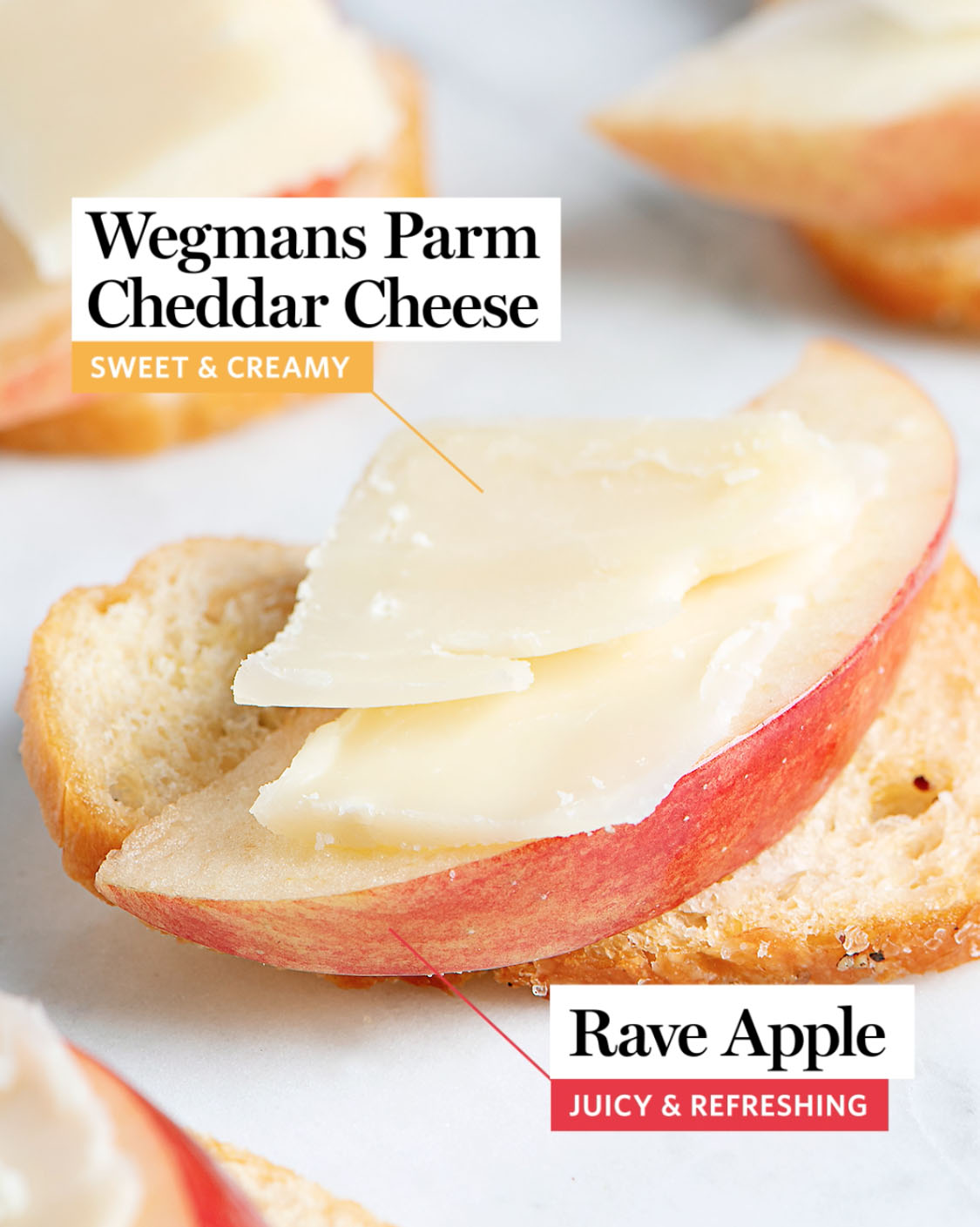 "A slice of ""Wegmans Parm Cheddar Cheese."" sitting on top of a ""Rave Apple Slice."" The cheese is described as ""sweet and creamy."" The apple is described as ""sweet and juicy"""