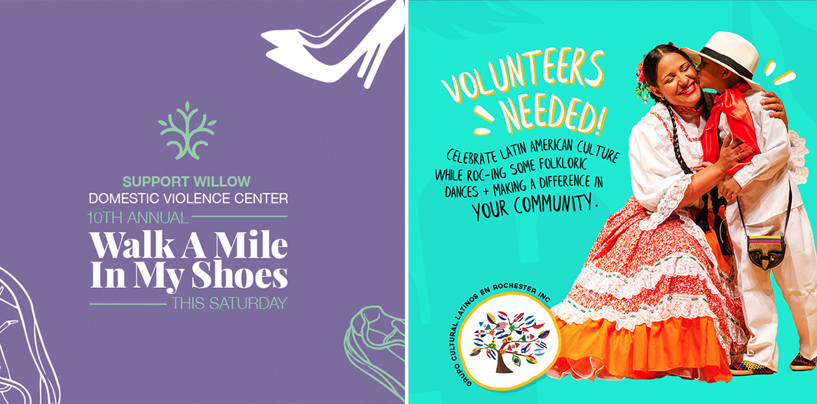 "On the left, Purple Graphic image with ""Support willow domestic violence center 10th annual walk a mile in my shoes this Saturday"" On the right, a call for volunteers for GCLER featuring and adult and child in traditional hispanic attire."