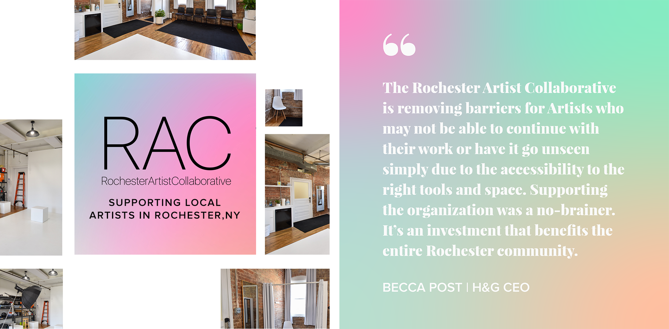 Collage of RAC studio space with a quote from H&G CEO, Becca Post