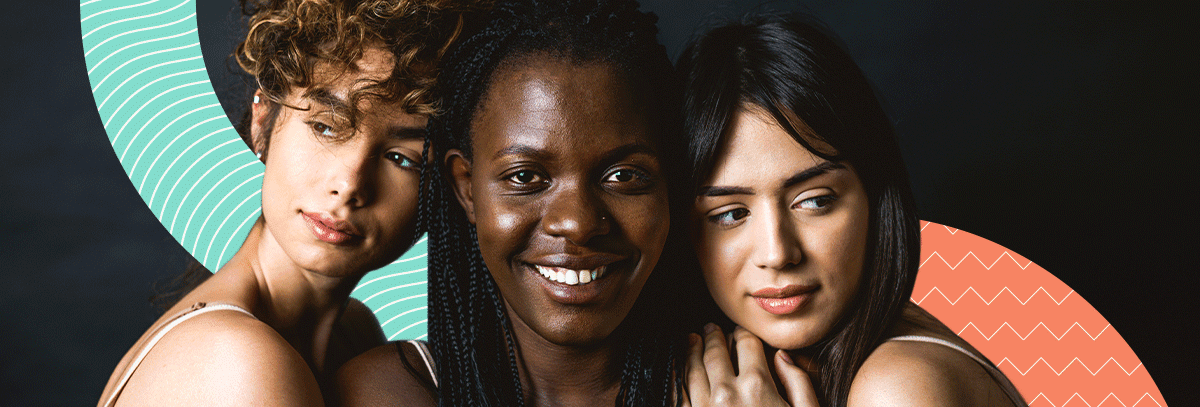Headshots of 3 models overtop black background with colored curves