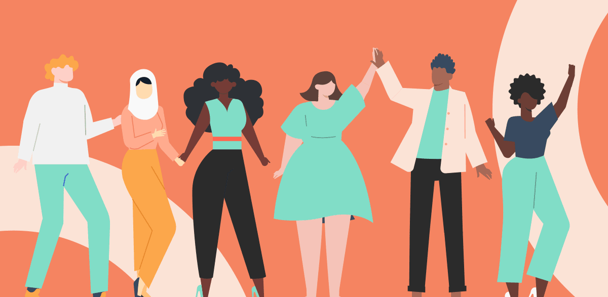6 Upbeat diverse illustrated people hand-in-hand on top orange background