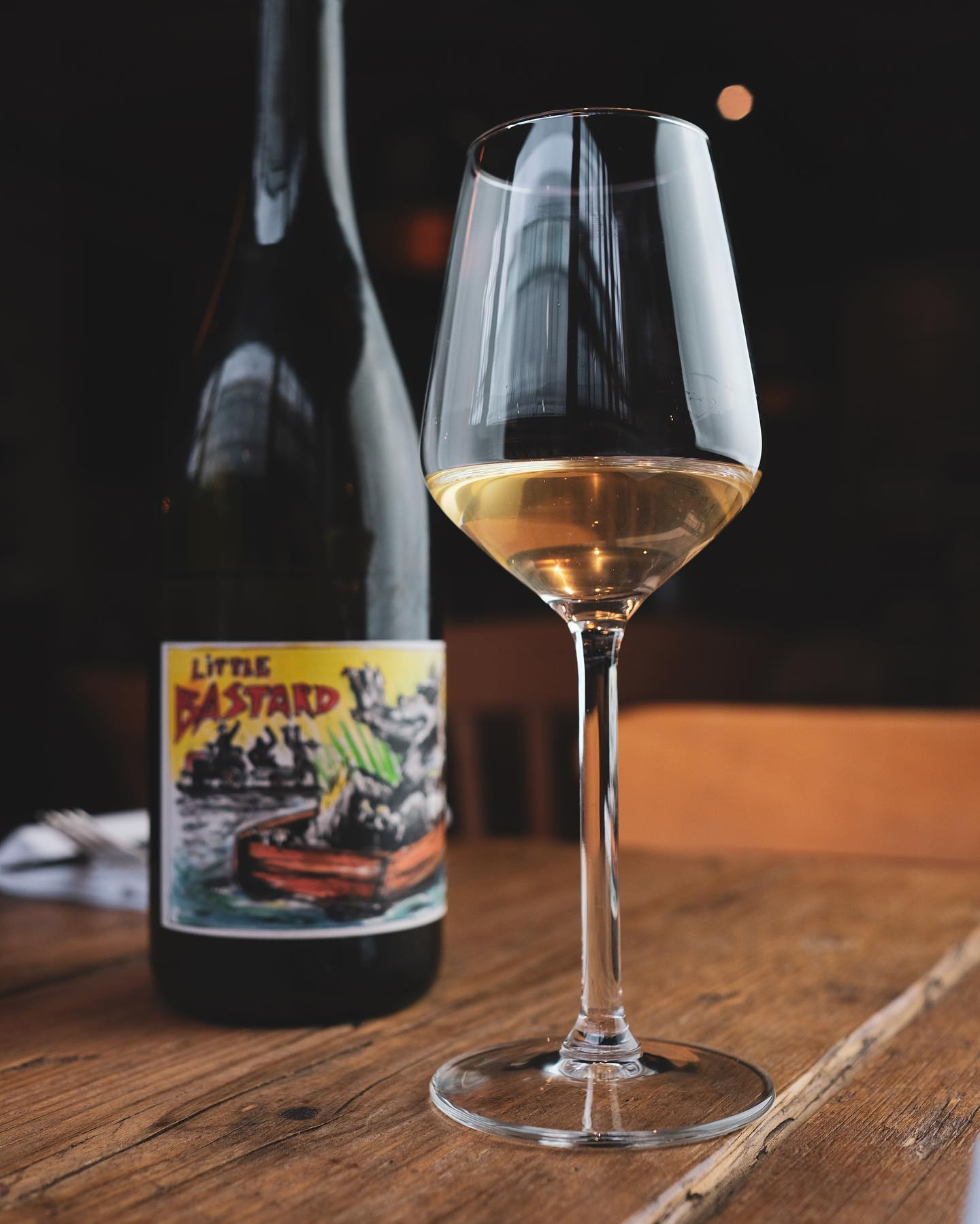 On by the glass for this weekend only.   A wine that deserves to be available to everyone.   @staffelterhof862 Little Bastard is truly a triumphant wine.  Very light skin contact on this (a few hours) but it adds so much depth and complexity.   Notes of peach, perry, wild strawberry and lime with a creamy finish.  Unfiltered, unfined and zero added sulphur.