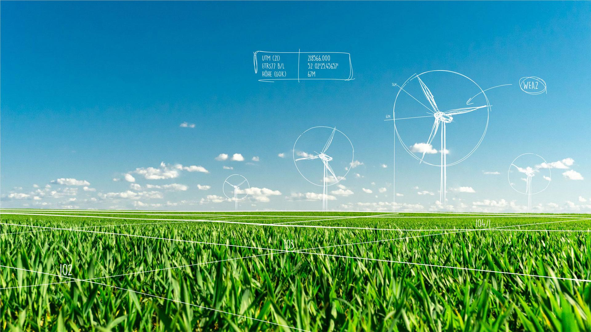 Eine grünes Feld, blauer Himmel und skizzierte Windkraftanlagen.