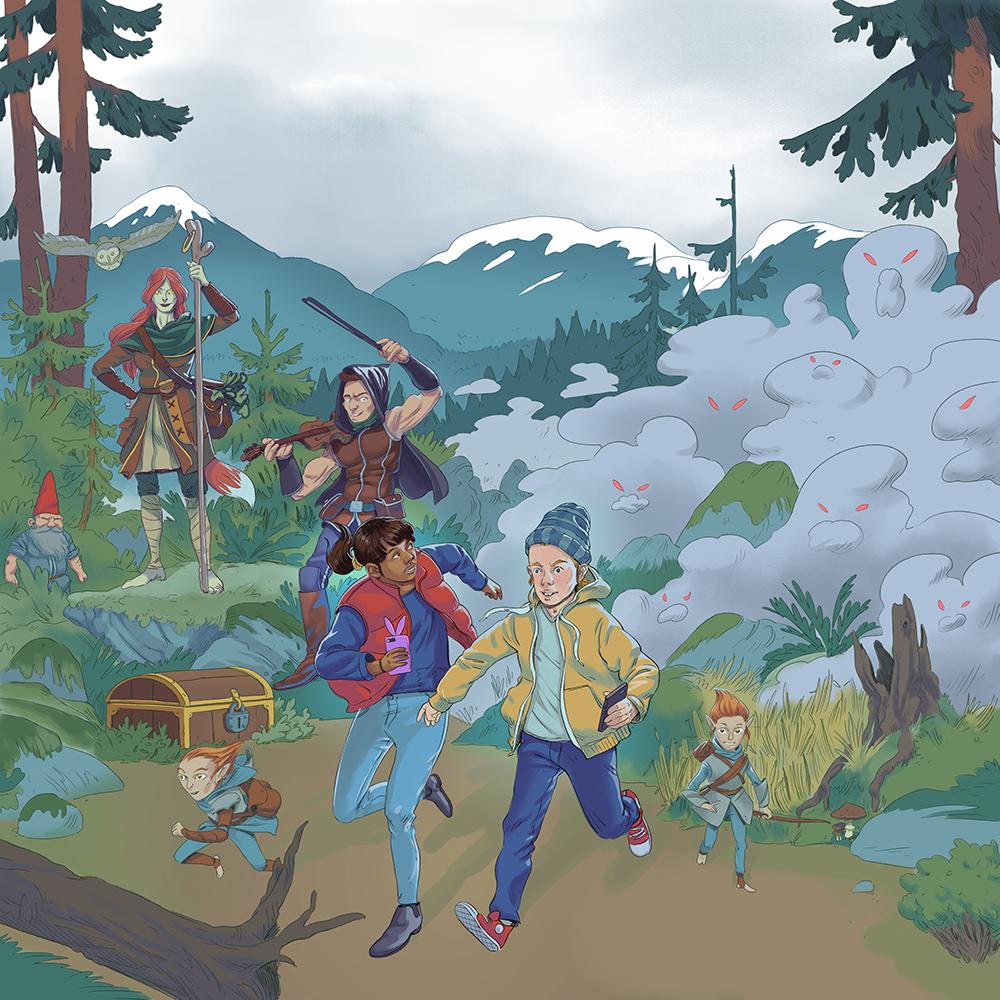 Ilustration på Oknytt-spelet baserat på Run and Find