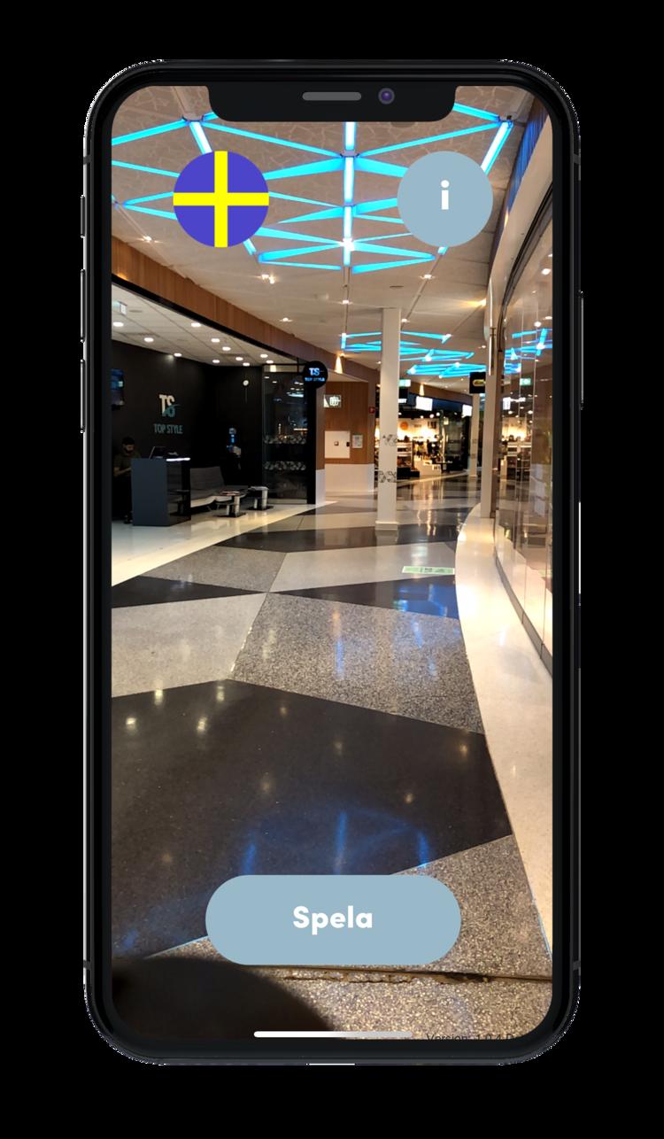 Mobilvy med pil i augmented reality, köpcentrummiljö