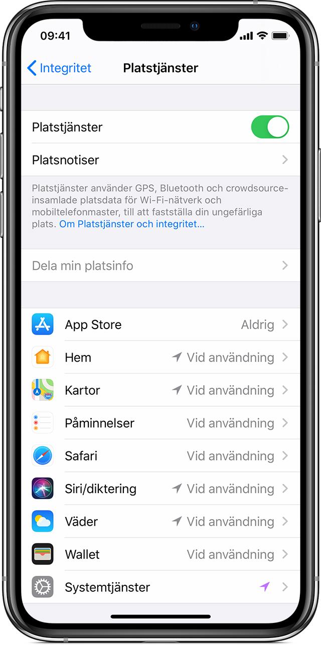 Skärmdump på en IPhone som visar integritetsinställnignarna för telefonen och dess appar.