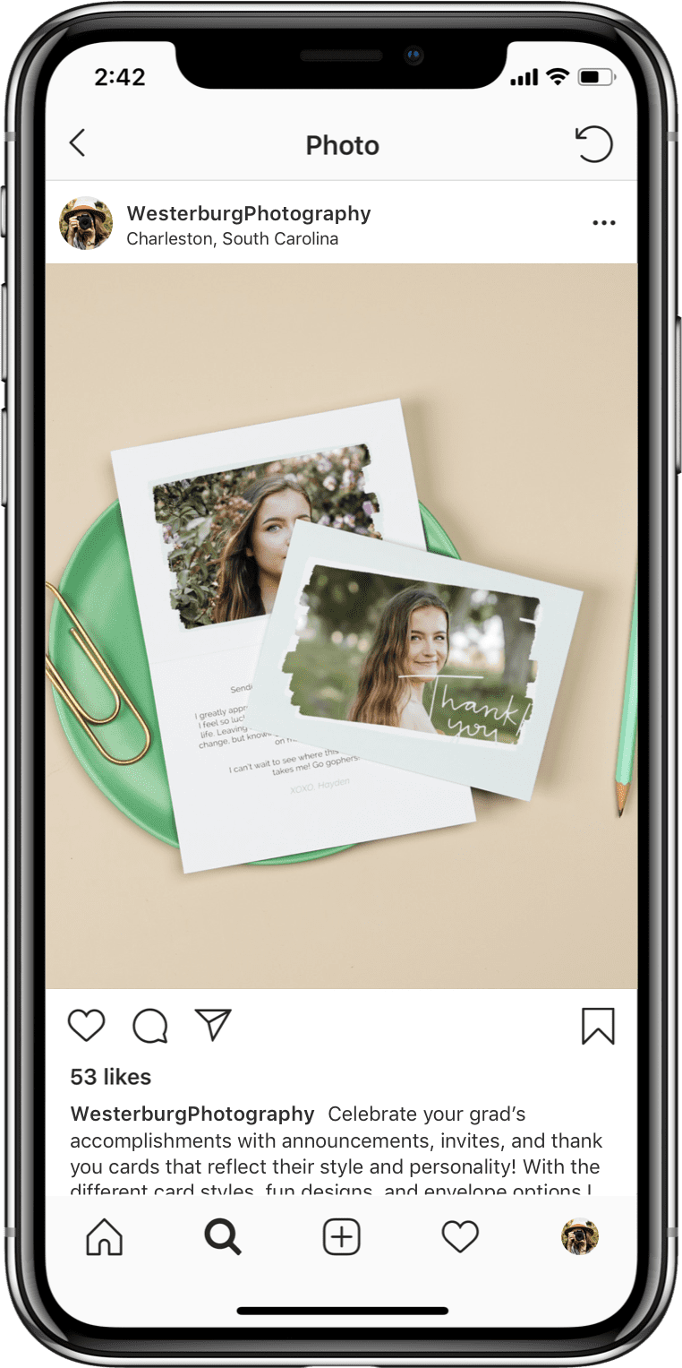 Mockup of iPhone with Instagram opened up to a photo of a girl on a card.